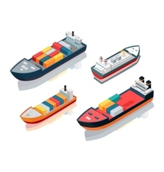 Set of seagoing cargo ships feeder vessels vector