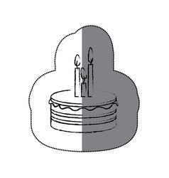 Sticker blurred silhouette birthday cake with vector