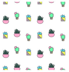 Tiny cactus and succulent seamless pattern vector