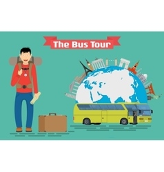 Tourist goes to The Bus Tour of popular familiar vector image vector image