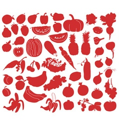 Vegetables and fruits silhouettes vector