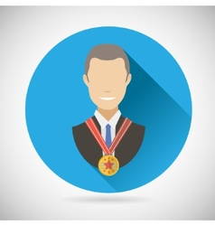 Winner success businessman victory prize award vector