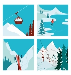 Ski resort in the mountains vector