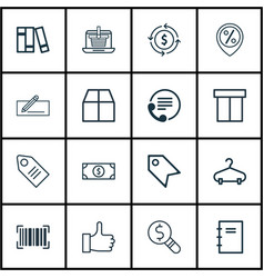 Set of 16 e-commerce icons includes money vector