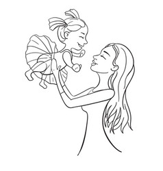 Mother and daughter outline vector