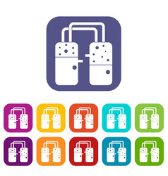 Containers connected with tubes icons set flat vector