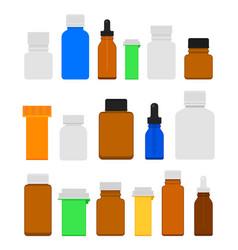 medicine bottles flat set vector image