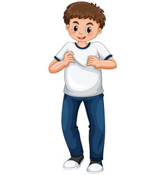 Teenage boy in white t-shirt and blue jeans vector