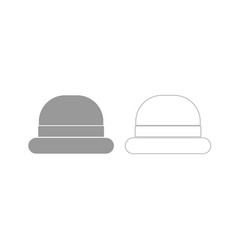 Vintage top hat grey set icon vector