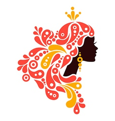 Beautiful woman silhouette tattoo of abstract girl vector
