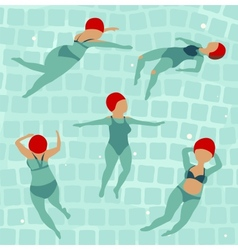 Swimming Women in Pool vector image