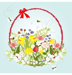 Spring floral blossom love vintage cartoon bee vector