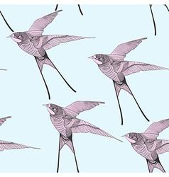 Zentangle stylized swallow seamless pattern Hand vector image
