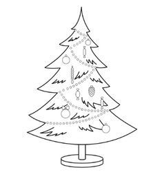 Christmas furtree contours vector