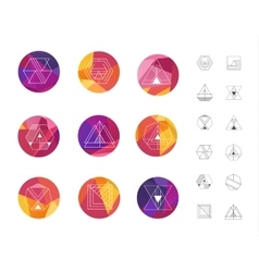 Set of colored geometric crystal circles in vector