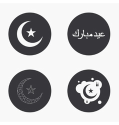 Modern eid mubarak icons set vector