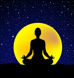 Silhouette of woman practicing yoga at night sky vector