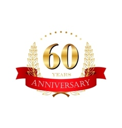 60 years anniversary golden label with ribbons vector