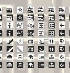 Set of pictograms for cards and city schemes vector