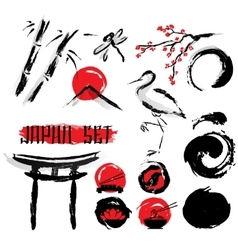 Japanese sumie ink painting icons set vector