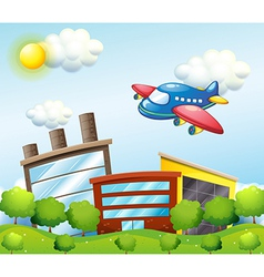 A blue airplane above the tall buildings vector