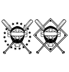 baseball mask and crossed bats vector image