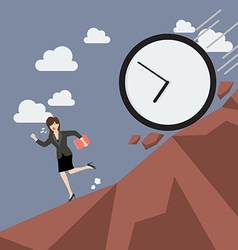 Business woman running away from clock attack vector