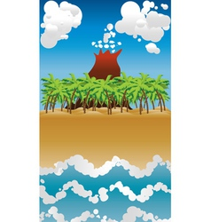 Cartoon volcano island2 vector image