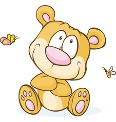 cute bear sitting isolated on white background vector image