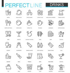 Drinks thin line web icons set drink outline vector