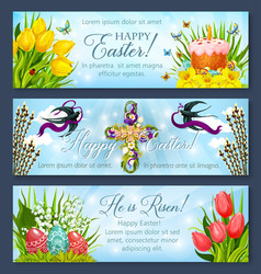 Easter banner set with egg cake and flower cross vector