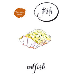 Fresh sea fish a piece of roasted codfish vector