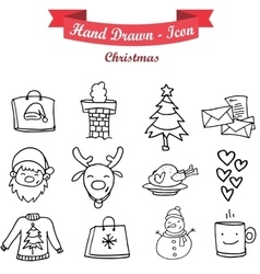 Hand draw icon set of christmas vector