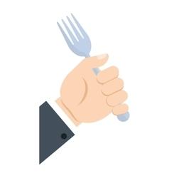 Hand take fork cook utensil vector