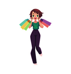 happy caucasian girl woman with shopping bags vector image vector image