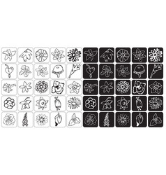 icons bud flowers vector image vector image