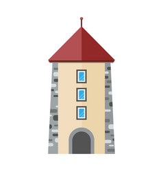 medieval city tower icon ancient stone tower vector image
