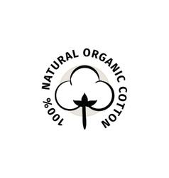 Natural organic cotton label vector