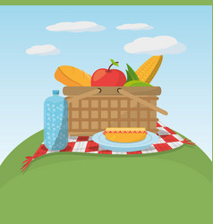 Picnic food basket meaodw blanket vector