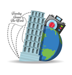 Pisa tower with earth planet and camera vector