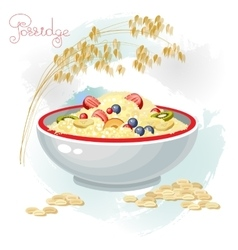 Porridge and fruits in bowl isolated on white vector image vector image