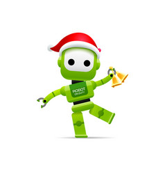 robot santa claus merry christmas happy new year vector image vector image