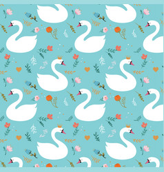 Seamless swan pattern vector