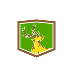 Stag Deer Looking Up Shield Cartoon vector image vector image