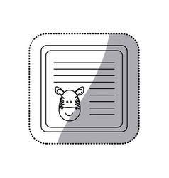Sticker monochrome card with male zebra head vector