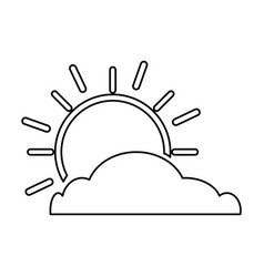 Summer sun with cloud scene vector