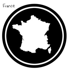 white map of france on black circle vector image