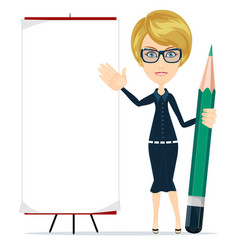Woman holding a pencil and pointing to a blank vector