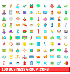 100 business group icons set cartoon style vector