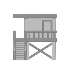 Rescue booth on the beach icon monochrome style vector